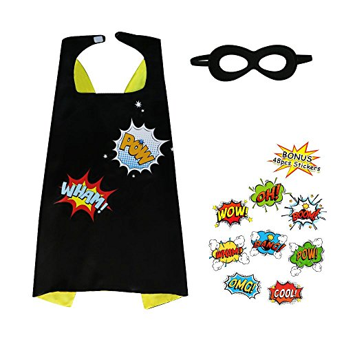 Flying Childhood Super Hero Cape and Mask for Kids with 48 Superhero Word Cutouts Stickers-Boys&Girls Dress up Party Supplies (Superhero Halloween Party Invitations)