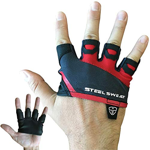 Steel Sweat Gym Gloves - Crossfit WOD Workout - Weight Lifting Gloves to Protect Your Palms for Men & Women - Skins Red Medium