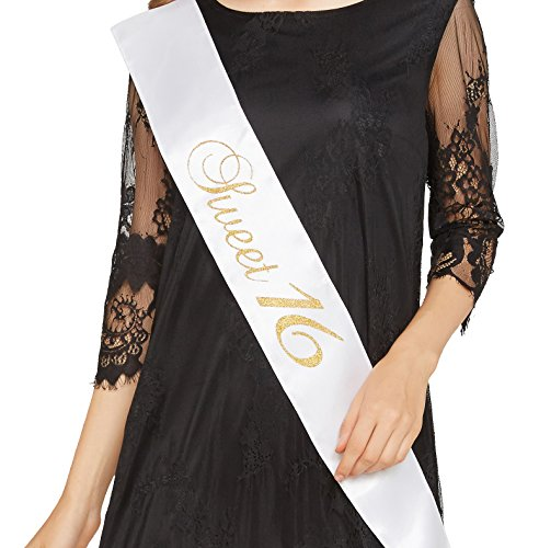 """Sweet 16"" White Satin Sash w/Gold Glitter Letters - Sweet Sixteen - 16th Birthday Party Supplies,Decorations - Celebration Ideas, Gifts for $<!--$5.99-->"