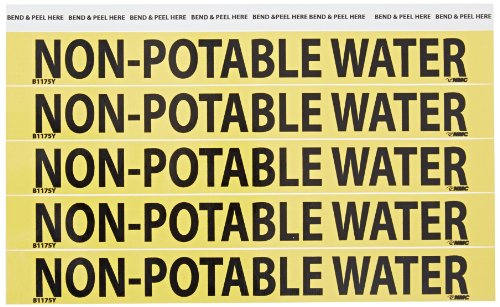 """NMC B1175Y Pipemarkers Sign, Legend""""NON-POTABLE WATER"""", 9"""" Length x 1"""" Height, 3/4"""" Letter Size, Pressure Sensitive Vinyl, Black on Yellow (Pack of 25)"""