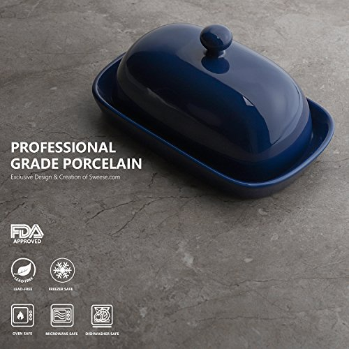 Sweese 3167 Porcelain Cute Butter Dish With Lid, Perfect For East/West Butter, Navy by Sweese (Image #1)