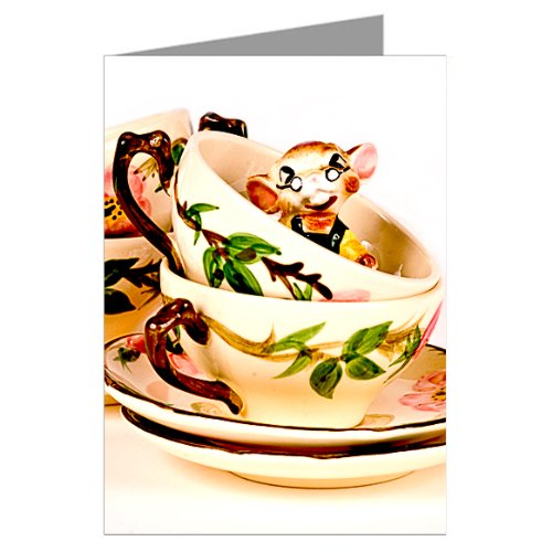 Vintage Kitsch Mouse in a Tea cup Notecard Set