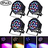 Par Lights, SOLMORE DMX-512 RGB 18 LED Stage Lighting DJ Disco Light Party Light Sound Activated for Wedding KTV Show Club Bar Xmas 18W (4Pcs)