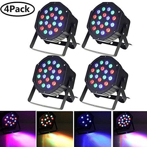 Par Lights, SOLMORE DMX-512 RGB 18 LED Party Lights DJ Disco Lights Sound Activated Stage Lighting for Wedding KTV Show Club Bar Karaoke 18W (4Pcs) ()