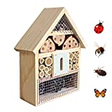 Beaks And Paws B&P Insect Hotel for Beneficial Bug Bees Butterfly, Natural Wooden House (Bee House)