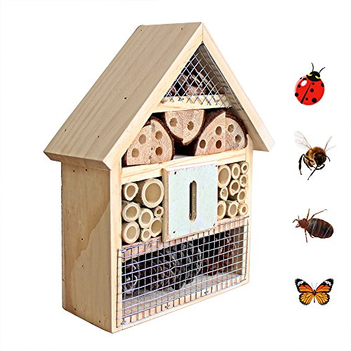 B&P Insect Hotel for Beneficial Bug Bees Butterfly, Natural Wooden House (Bee House)
