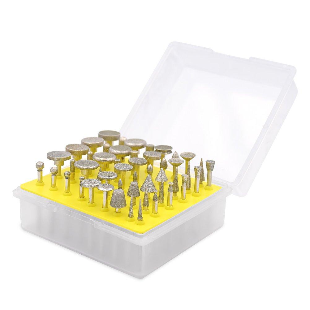 Fresas Diamante 3 mm V/ástago para Dremel Herramientas Rotativas//Molienda Pulido Grabado de Bricolaje GOXAWEE 20Pcs Juego de Brocas de Diamante Muela con Punta Montada