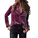 Womens Tops Purple,Womens Tops Size 8,Womens Tops Summer,Moonuy Ladies Girl Velvet Turn-Dowm Collar Long Sleeve Tops Blouse Shirt T-Shirt,Womens Blouse Long Sleeve,Womens Blouse Casual (Purple, S)