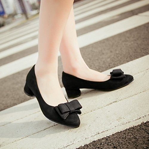 Carolbar Women's Sweet Lovely Bow Pointed Toe Mid Heel Date Court Shoes Black nOwPI