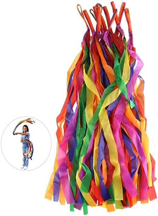 12pcs Handheld Rainbow Dance Ribbon Stage Props Toys for Kids Multi Colored