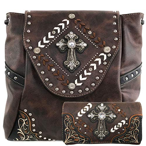 (Justin West Trendy Western Cross Rhinestone Leather Conceal Carry Top Handle Square Backpack Purse (Coffee Backpack Wallet Set) )