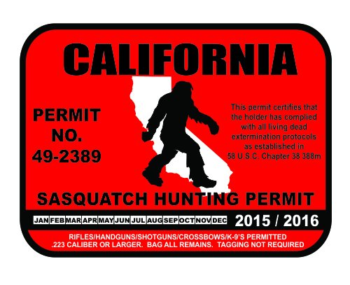 California Sasquatch Hunting Permit License Bigfoot Vinyl Sticker Decal