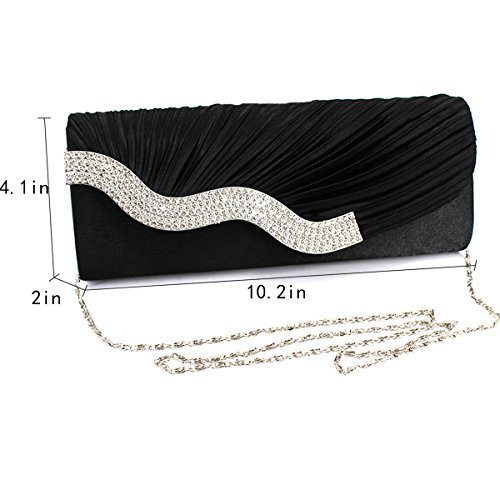 Clutch Ruched Party Women with Black Crystal Flap Detachable Purse Evening YAOSEN Chain 4RtWqcvSc
