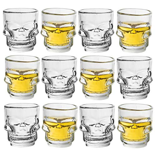 Juvale Bulk 12-Pack Clear Glass Skull Shot Glasses for Parties, Pirate Theme Party, Vodka, Tequila, Whiskey - 1.6 -