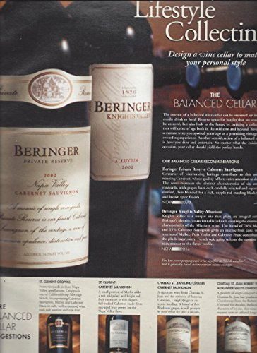 PRINT AD For 2002 Beringer Wines Lifestyle Collecting (2002 Wine)