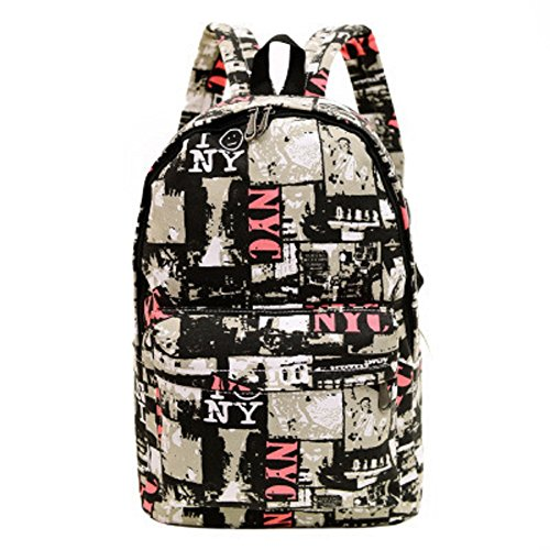 Urmiss Graffiti Printed Canvas Casual Backpack Travel Shoulder Bag Students Schoolbag College Rucksack Red Newspapers from Urmiss