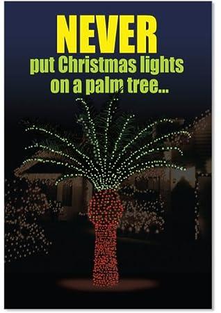 Christmas Light Palm Tree Christmas Funny Card (12 Pack)