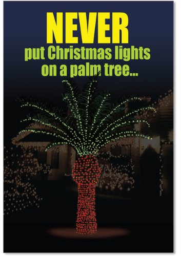12 'Light Palm Tree' Boxed Christmas Cards with Envelopes 4.63 x 6.75 inch, Funny Penis Palm Tree Christmas Notes, Adult Humor, Dirty Jokes, Inappropriate Christmas Stationery B1916
