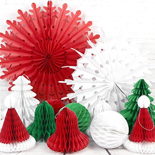 Bells Christmas Decoration - SUNBEAUTY Set of 12 Mix and Match Christmas Decorations Paper Honeycomb Tree, Ball, Bell,Hat & Snowflake Fan Honeycomb Decorations