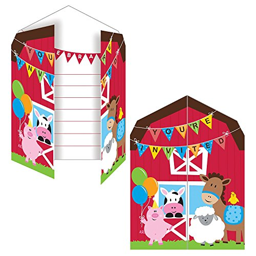 Animals Birthday Party Invitation (Creative Converting Farmhouse Fun Party Invitation (Value Pack: 16 Count))