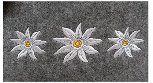 Witzgall Filztasche hellgrau mit Edelweiß und Handytasche 38x20x30 cm Trachtentasche