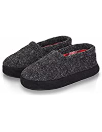 Boy/Little Kid Indoor Winter Warm Cozy Gray Comfy Plush Slip-on Slippers with Hard Sole