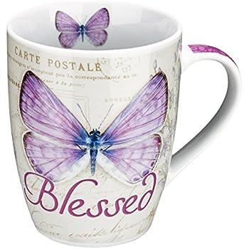 Amazon Com Blessed Butterfly Mug Botanic Purple