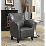 Monarch Leather-Look Club Chair, Charcoal Grey