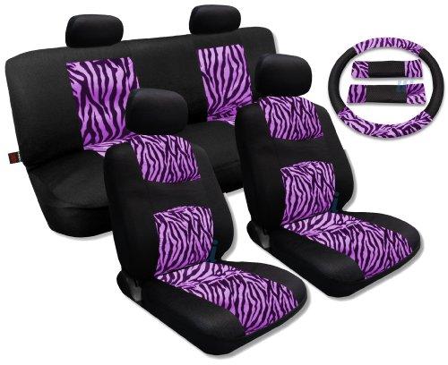 Pink Zebra Accent Fur Black Mesh Cool Breeze Animal Print Seat Cover Set For Toyota Corolla