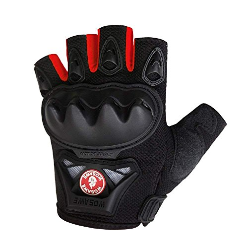 WOSAWE Motorcycle Gloves Outdoor Tactical Gloves, Red Fingerless, Size M