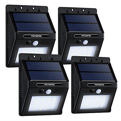 VicTsing 4-Pack 16LED Solar Power Lights, Waterproof Outdoor/Wall Security Motion Sensor Light for Patio, Yard, Garden, Driveway