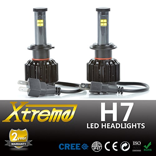 Xprite All-IN-ONE Patented Design Ultra Bright LED Headlight Conversion Kit (No Ballast Required) - All Bulb Sizes & Color Temperature Covers - Replaces Halogen & HID Bulbs (H7, Original Temperature Cover Kit)