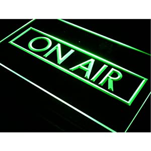 Neonify Podcast On Air Recording Studio Equipment Sign Gift 12x8 w/ Door Window Wall Hanging Chain - Plug In Night Light Up Box - Illuminated Etched Acrylic Marquee Letter for Home Decoration (Green)