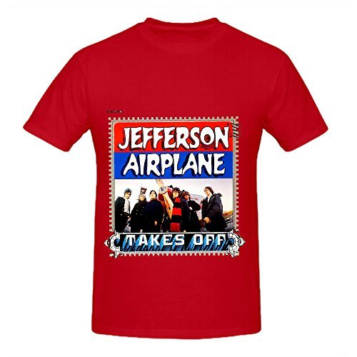 Jefferson Airplane Takes Off 80s Men Round Neck Diy Shirt Red
