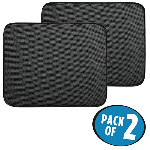 mDesign Kitchen Countertop Absorbent Dish Drying Mat - Pack of 2, 18