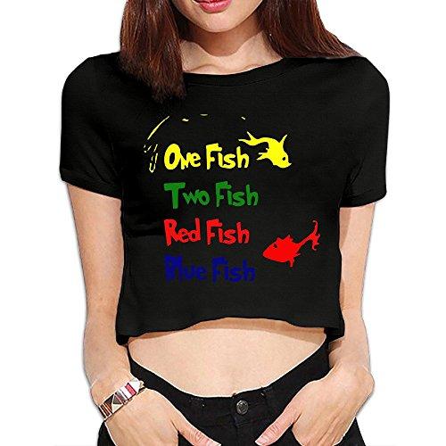 NEVA Womens One Fish Two Fish Reversible Dr Seuss New Cartoon Dew Navel T Shirts Tees Crop Top ()