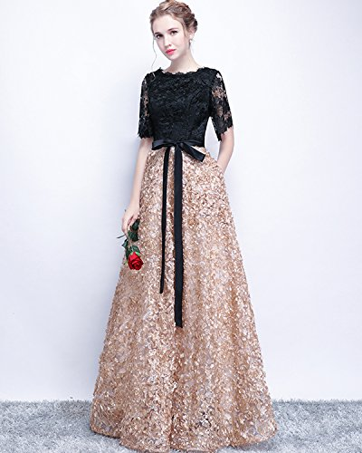 Schwarzgold Neu Abendkleider Elegant Lange Damen 2017 mit Spitze LuckyShe Ärmeln PgzS8qw