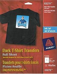 Avery Dark T-Shirt Transfers, For Use on Dark Fabrics, Inkjet Printers, 5 Paper Transfers (03279), White