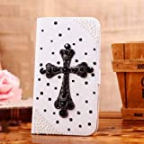 Locaa(TM) For LG Google Nexus 5 3D Bling Case + Touch stylus + Anti-dust ear plug Deluxe Luxury Crystal Pearl Diamond Rhinestone eye-catching Beautiful Leather Retro Support bumper Cover Card Holder Wallet Cases -[General series] cross
