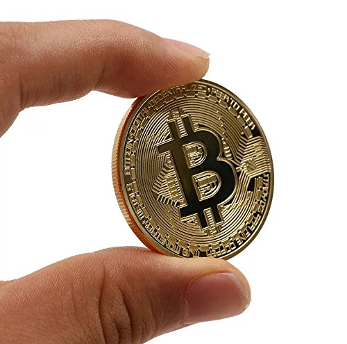 Gold Plated Physical Bitcoins Bit Coin Copper BTC Bitcoin Art Craft Commemorative Coin for Home Room Office Decor, Gift for Him/for Christmas/New Year (Gold) ()