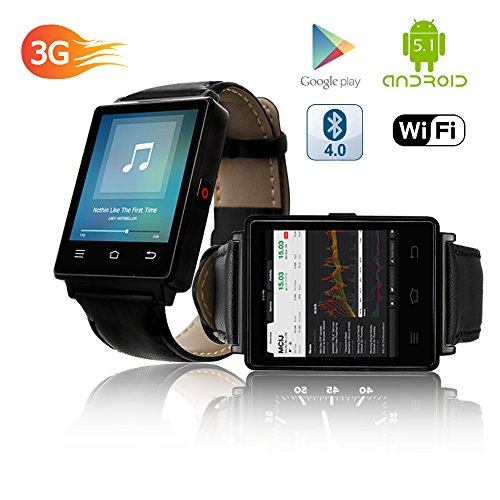 Indigi 2017 Android 5.1 3G Unlocked SmartWatch & Phone WiFi + GPS(Maps) + Heart Rate Monitor + Google Play Store by inDigi (Image #4)