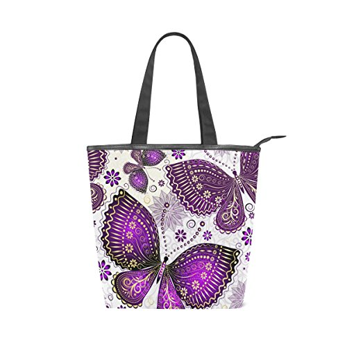 Butterfly Womens Shoulder Purple Handbag Bag Canvas Tote Flower Beautiful MyDaily xRqaAY7pwT