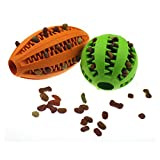 Petdom Dog Toy Balls for Small Large Dogs Aggressive Chewers Boredom, Non Toxic Tricky Treat Ball Indestructible Pet Toys(Orange Football + Green Watermelon)