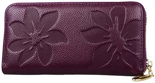Heshe Women's Soft Purse Case Long Organizer Wallet Zippered Arround Clutch Card Holder Money Clip Hot Sell (Violet-E)