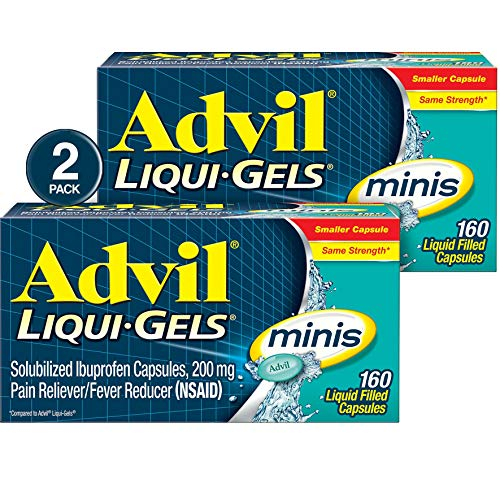 - Advil Liqui-Gels minis (Two Pack of 160 Count - 320 Capsules) Pain Reliever / Fever Reducer Liquid Filled Capsules, 200mg Ibuprofen, Easy to Swallow, Temporary Pain Relief