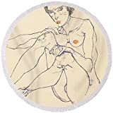 Pixels Round Beach Towel With Tassels featuring ''Seated Female Nude'' by Pixels