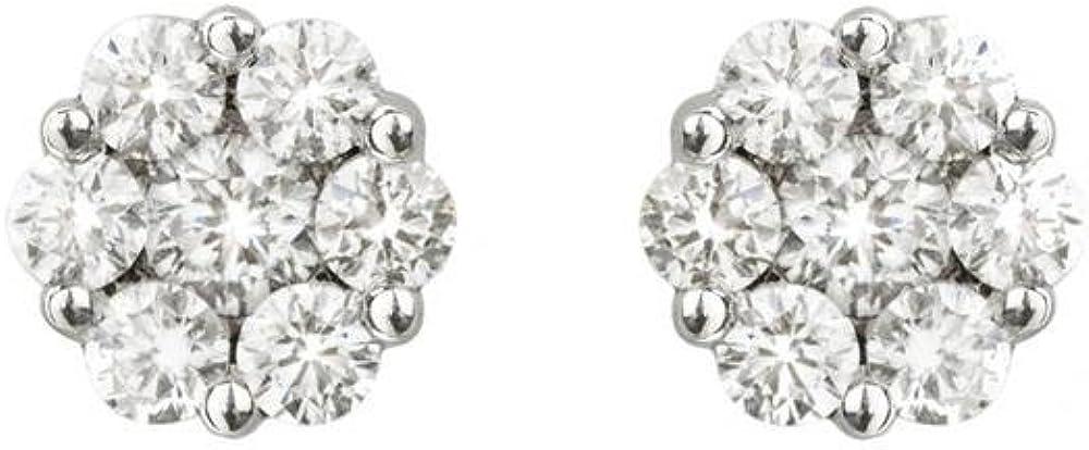 NICOLS 14710010 - Pendientes Dormilona Rosetón Oro Blanco (18kt) formados cada uno por siete Diamantes y con un peso total de todos los diamantes de 0.70 Ct