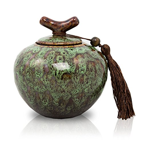 OneWorld Memorials Branch Ceramic Cremation Urn - Medium - Holds Up To 50 Cubic Inches of Ashes - Moss Green Ceramic Urns - Engraving Sold Separately - Dynasty Urn