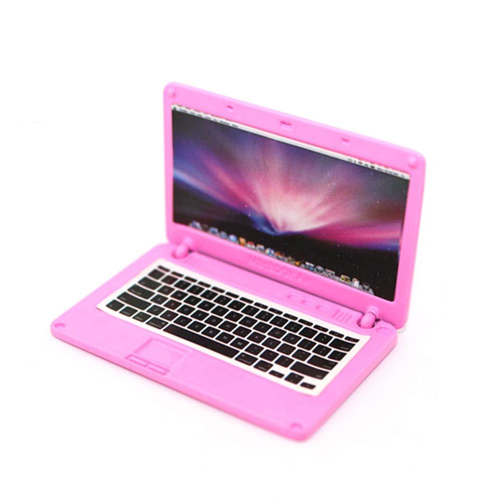 Rosa Newin Star Puppenstuben Miniatur-Laptop nettes Minipuppenhaus Dekoration Zubeh/ör Notebook mit Apple-Logo und Bildschirm