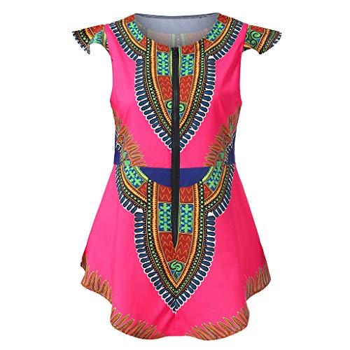 Keliay Womens Tops for Summer,Women Summer Zipper African Printing Sleeveless Tunic T-Shirt Tops Blouse Hot Pink